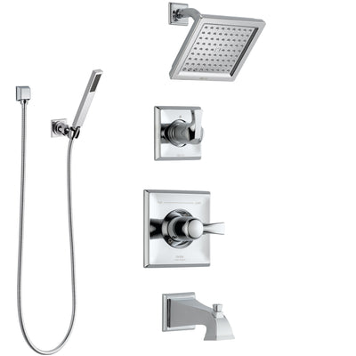 Delta Dryden Chrome Finish Tub and Shower System with Control Handle, 3-Setting Diverter, Showerhead, and Hand Shower with Wall Bracket SS1445125
