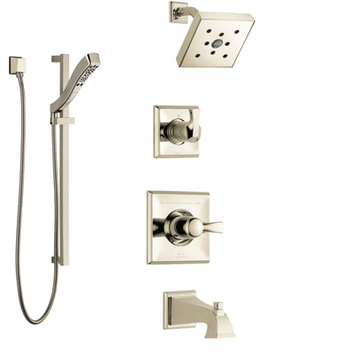 Delta Dryden Polished Nickel Tub and Shower System with Control Handle, 3-Setting Diverter, Showerhead, and Hand Shower with Slidebar SS144512PN3