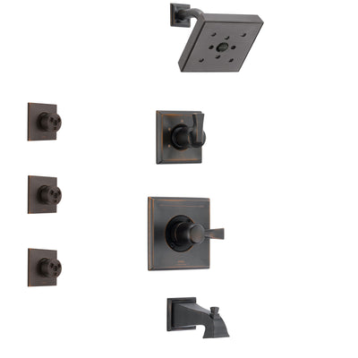 Delta Dryden Venetian Bronze Finish Tub and Shower System with Control Handle, 3-Setting Diverter, Showerhead, and 3 Body Sprays SS144512RB1