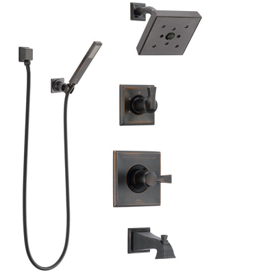 Delta Dryden Venetian Bronze Tub and Shower System with Control Handle, 3-Setting Diverter, Showerhead, and Hand Shower with Wall Bracket SS144512RB5