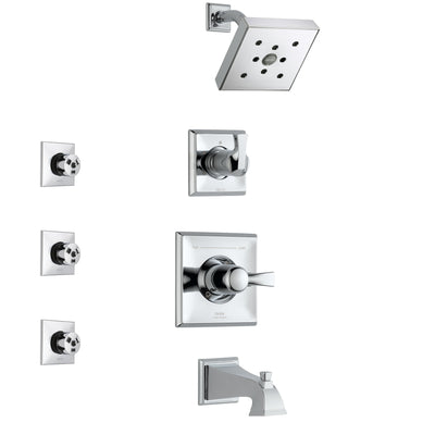 Delta Dryden Chrome Finish Tub and Shower System with Control Handle, 3-Setting Diverter, Showerhead, and 3 Body Sprays SS1445132