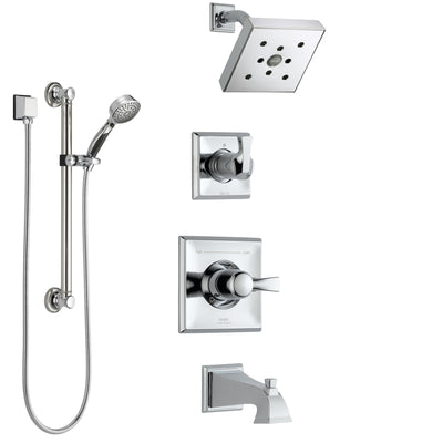 Delta Dryden Chrome Finish Tub and Shower System with Control Handle, 3-Setting Diverter, Showerhead, and Hand Shower with Grab Bar SS1445133