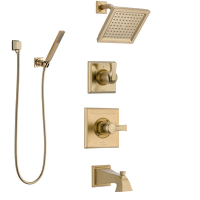Delta Dryden Champagne Bronze Tub and Shower System with Control Handle, 3-Setting Diverter, Showerhead, and Hand Shower with Wall Bracket SS14451CZ3
