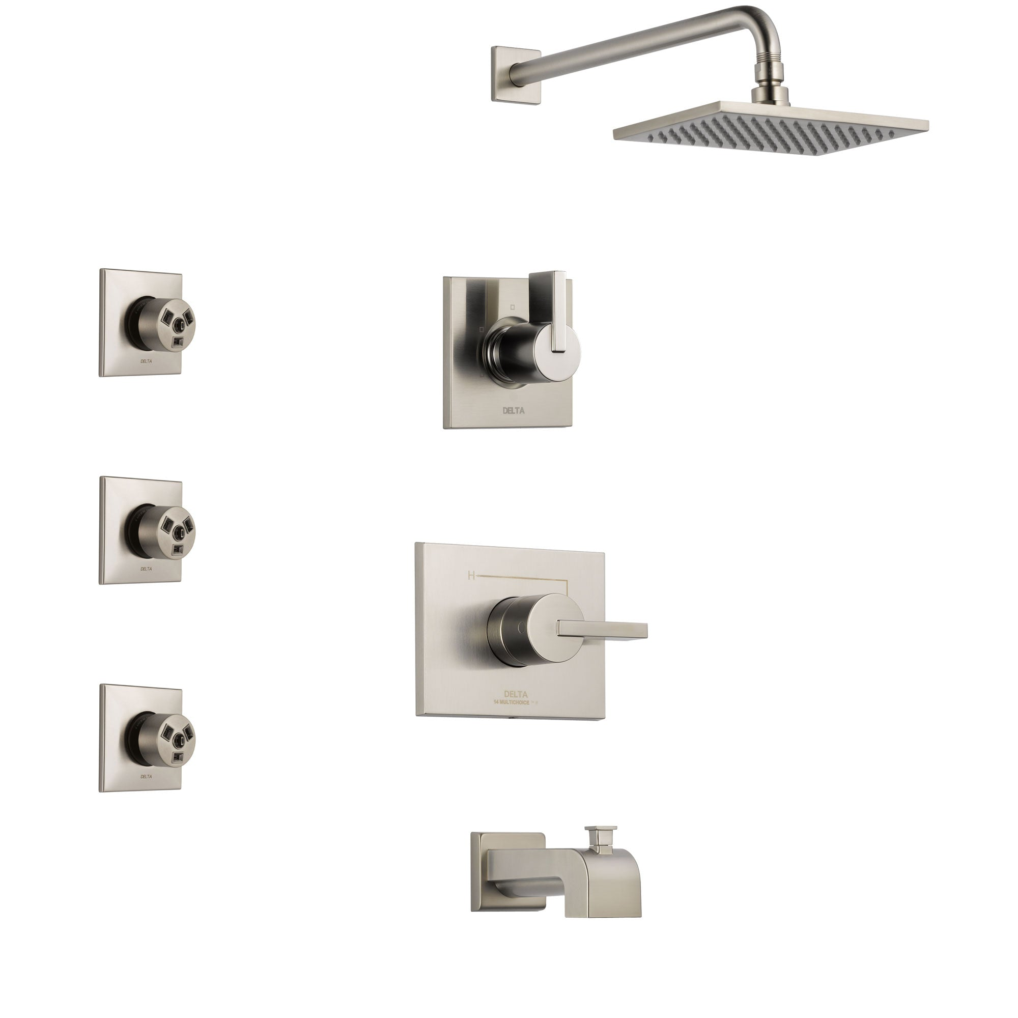 Delta Vero Stainless Steel Finish Tub and Shower System with Control Handle, 3-Setting Diverter, Showerhead, and 3 Body Sprays SS144531SS2