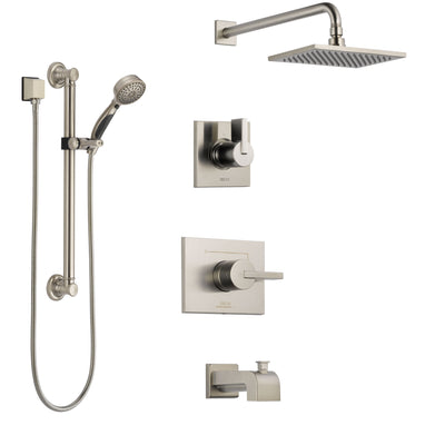 Delta Vero Stainless Steel Finish Tub and Shower System with Control Handle, 3-Setting Diverter, Showerhead, and Hand Shower with Grab Bar SS144531SS3