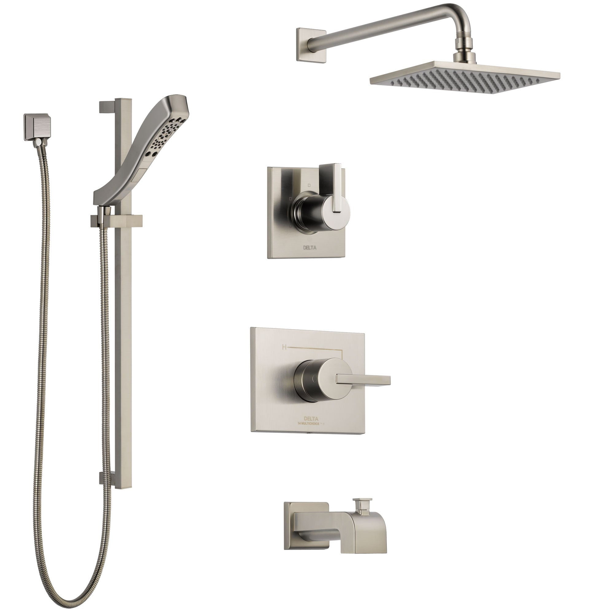Delta Vero Stainless Steel Finish Tub and Shower System with Control Handle, 3-Setting Diverter, Showerhead, and Hand Shower with Slidebar SS144531SS6