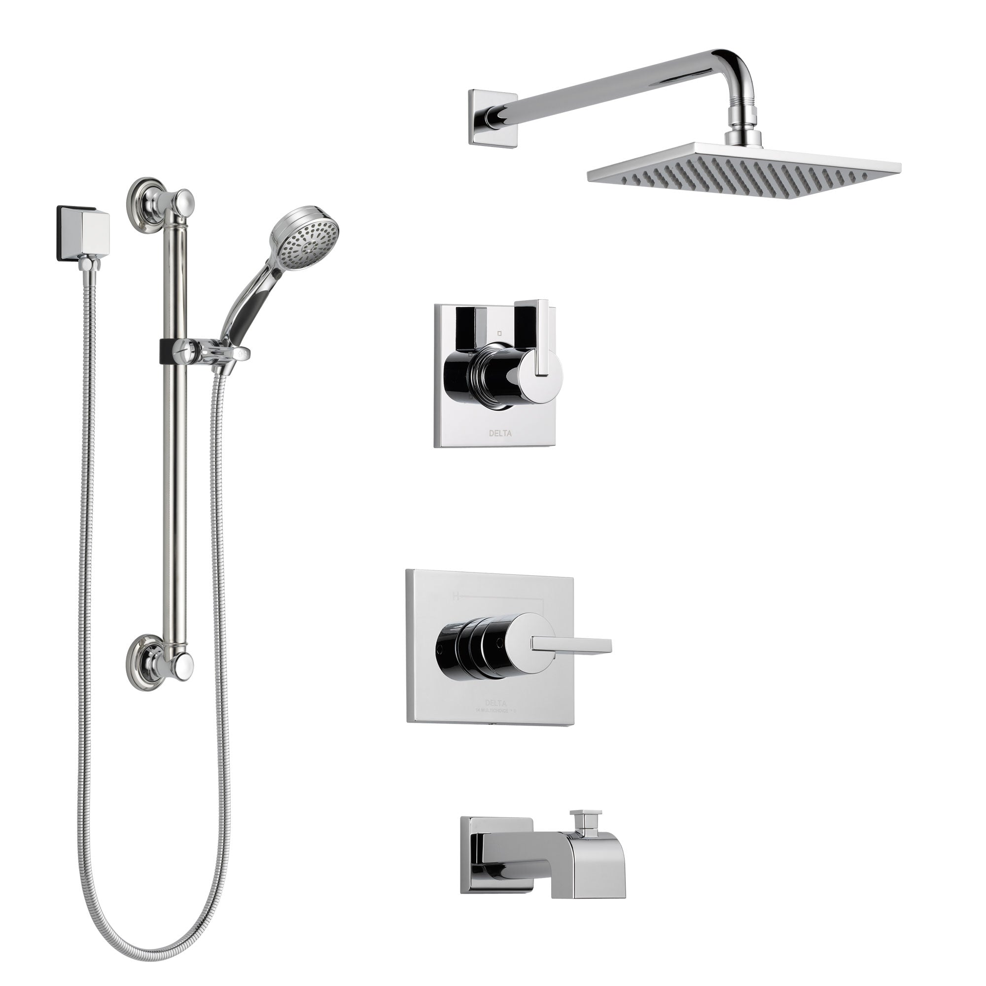 Delta Vero Chrome Finish Tub and Shower System with Control Handle, 3-Setting Diverter, Showerhead, and Hand Shower with Grab Bar SS1445323