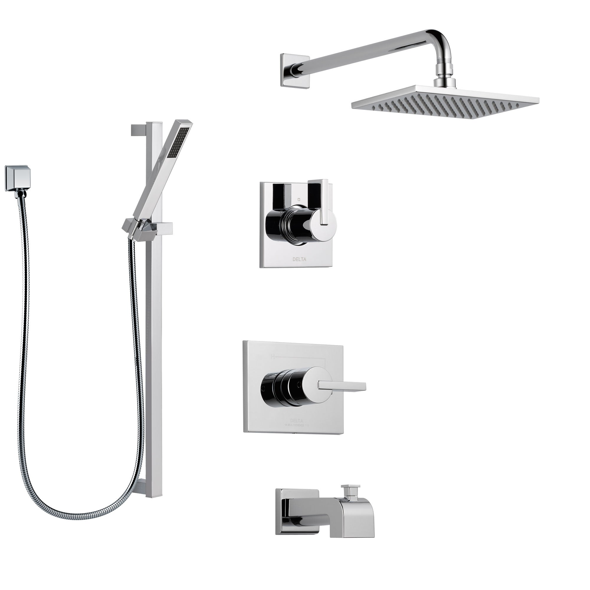 Delta Vero Chrome Finish Tub and Shower System with Control Handle, 3-Setting Diverter, Showerhead, and Hand Shower with Slidebar SS1445325