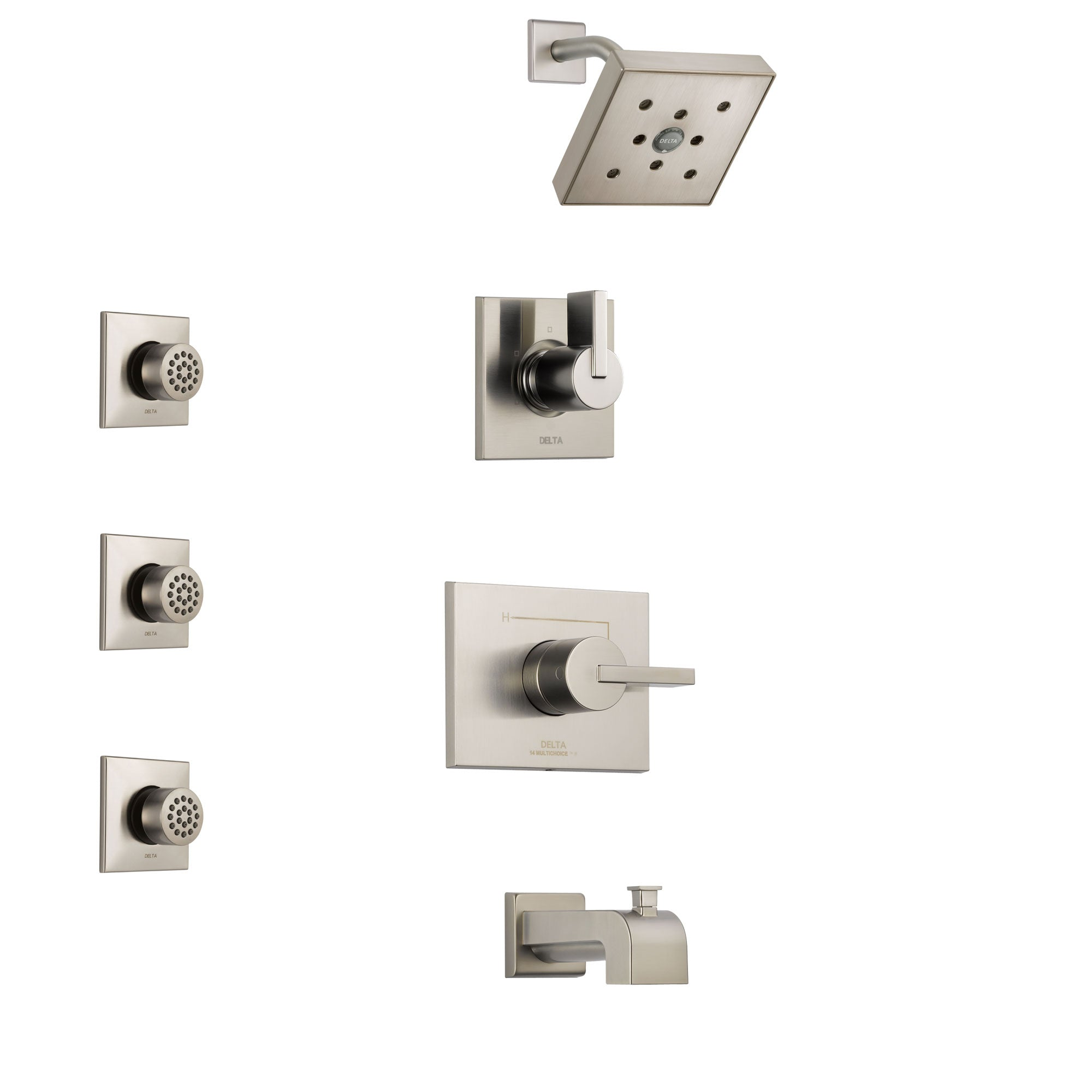 Delta Vero Stainless Steel Finish Tub and Shower System with Control Handle, 3-Setting Diverter, Showerhead, and 3 Body Sprays SS144532SS1