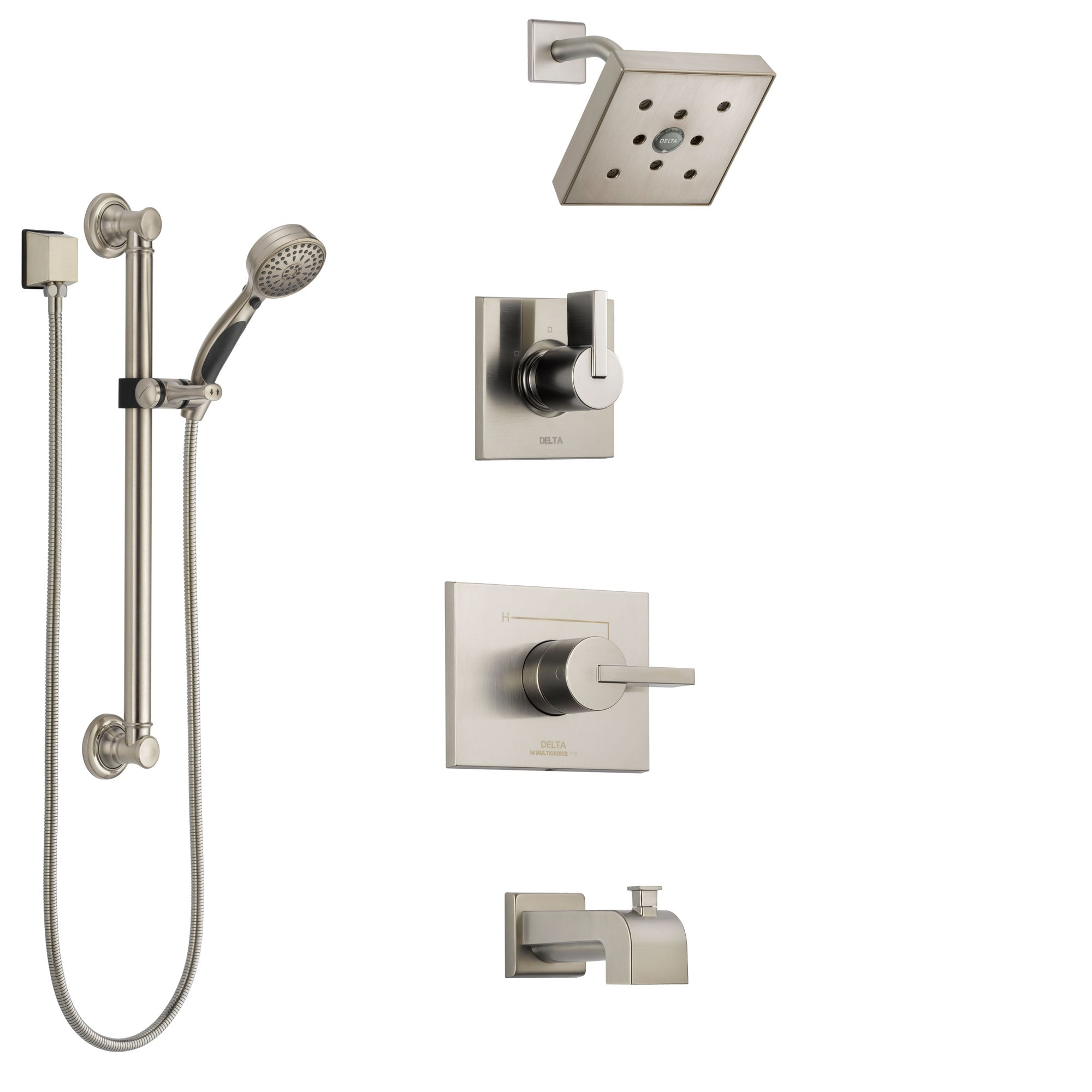 Delta Vero Stainless Steel Finish Tub and Shower System with Control Handle, 3-Setting Diverter, Showerhead, and Hand Shower with Grab Bar SS144532SS3