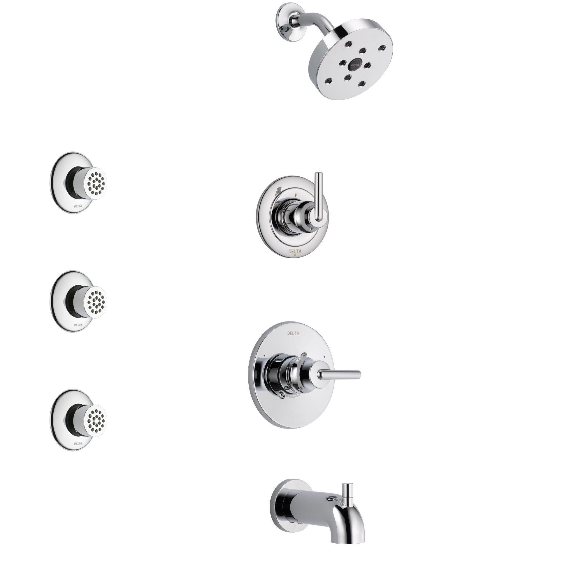 Delta Trinsic Chrome Finish Tub and Shower System with Control Handle, 3-Setting Diverter, Showerhead, and 3 Body Sprays SS144591