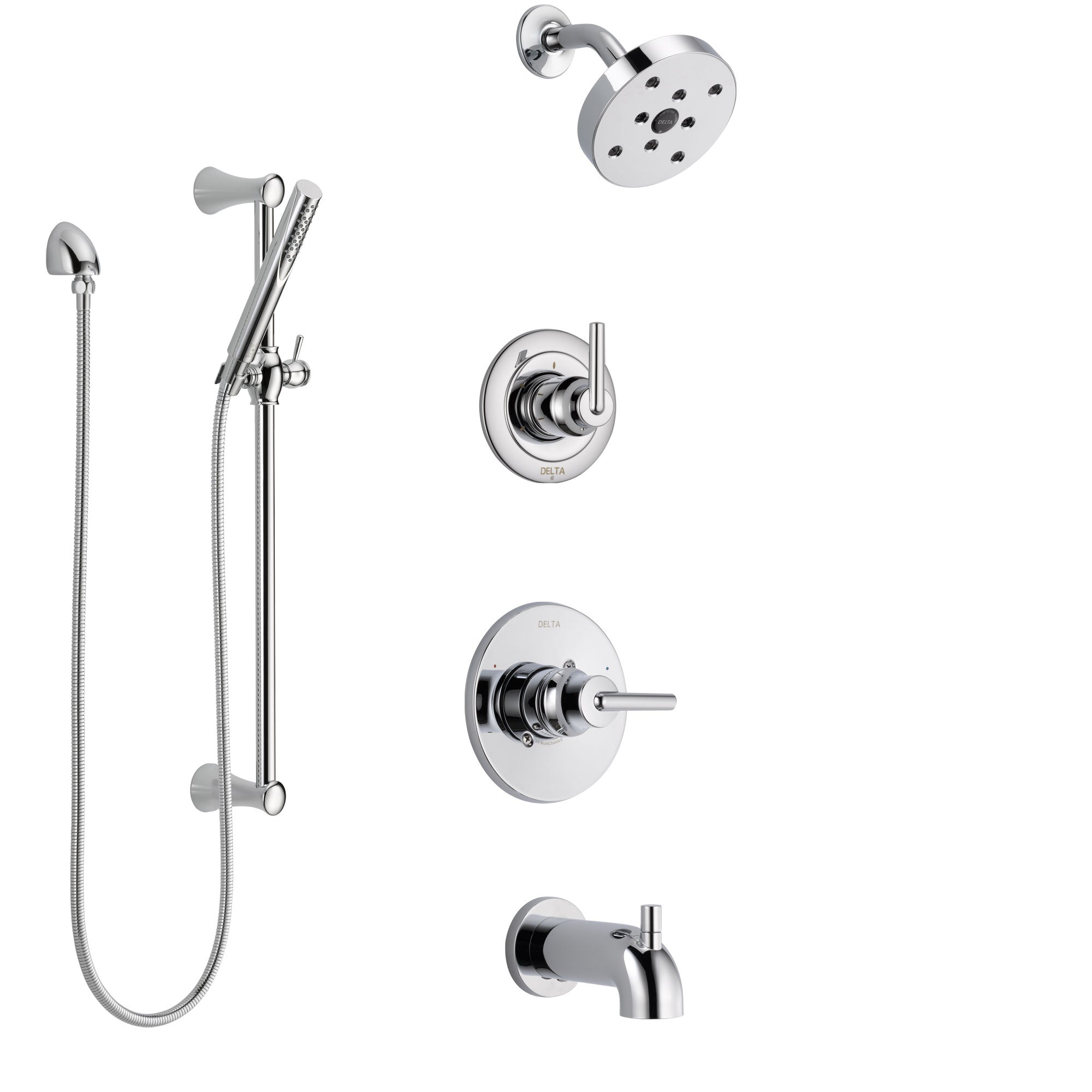 Delta Trinsic Chrome Finish Tub and Shower System with Control Handle, 3-Setting Diverter, Showerhead, and Hand Shower with Slidebar SS144596