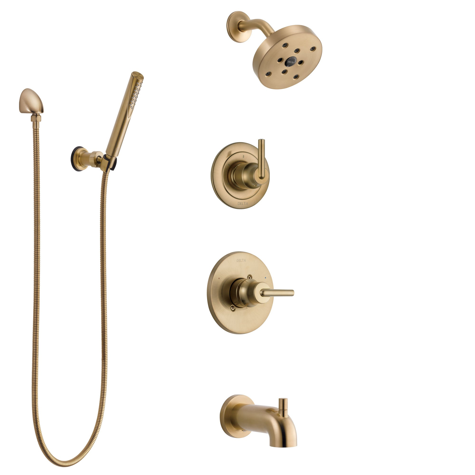 Delta Trinsic Champagne Bronze Tub and Shower System with Control Handle, 3-Setting Diverter, Showerhead, and Hand Shower with Wall Bracket SS14459CZ3