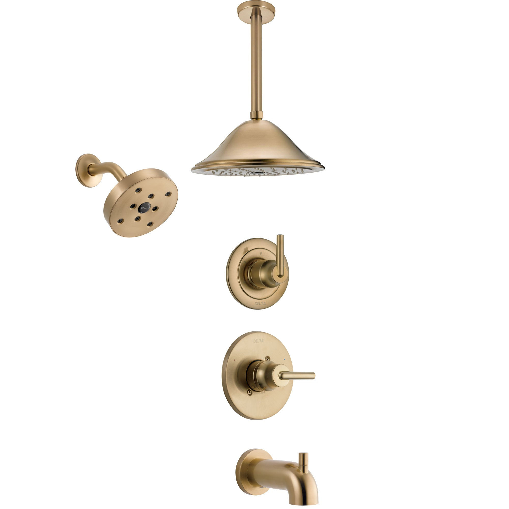 Delta Trinsic Champagne Bronze Tub and Shower System with Control Handle, 3-Setting Diverter, Showerhead, and Ceiling Mount Showerhead SS14459CZ4