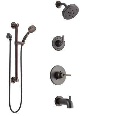 Delta Trinsic Venetian Bronze Tub and Shower System with Control Handle, 3-Setting Diverter, Showerhead, and Hand Shower with Grab Bar SS14459RB3