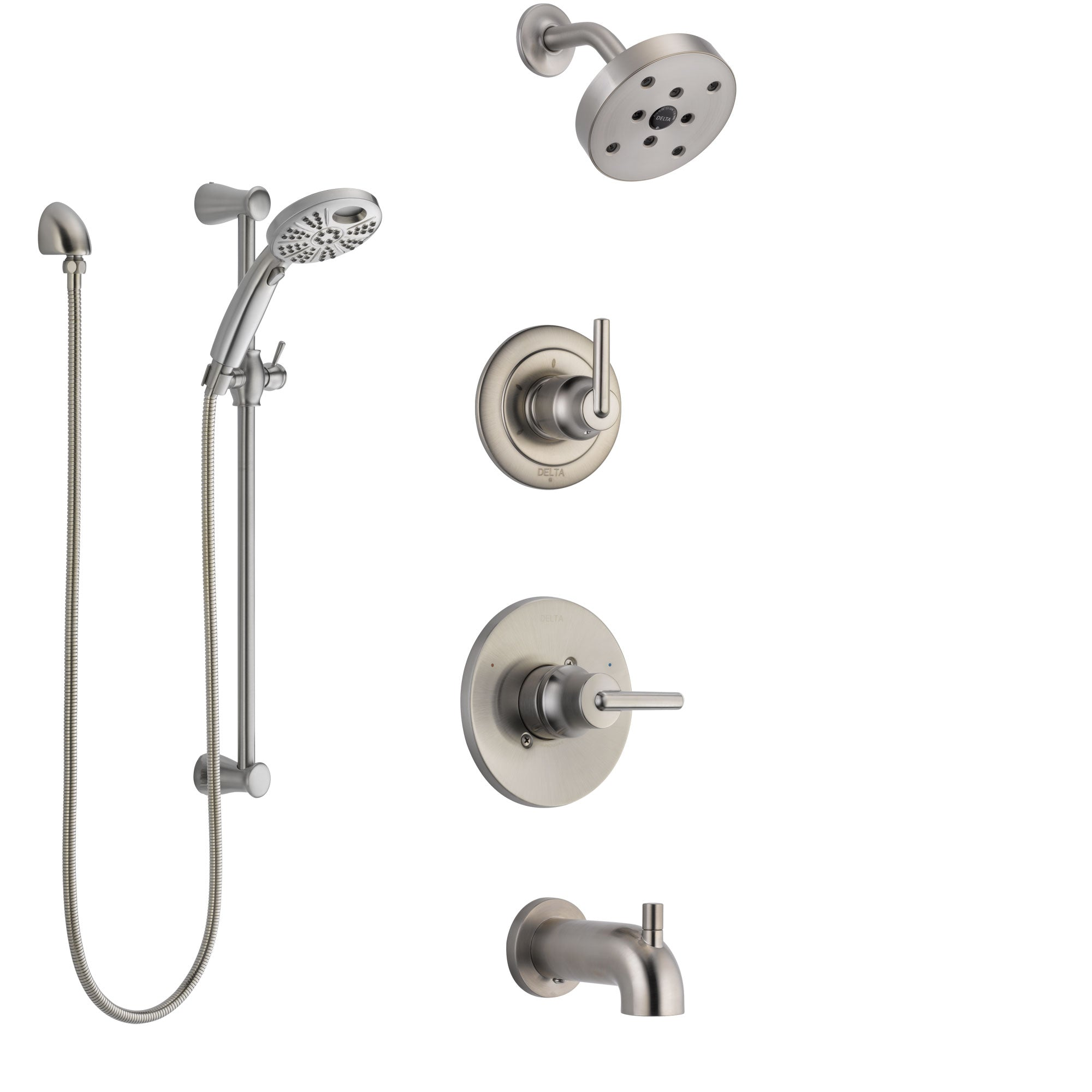 Delta Trinsic Stainless Steel Finish Tub and Shower System with Control Handle, Diverter, Showerhead, and Temp2O Hand Shower with Slidebar SS14459SS4