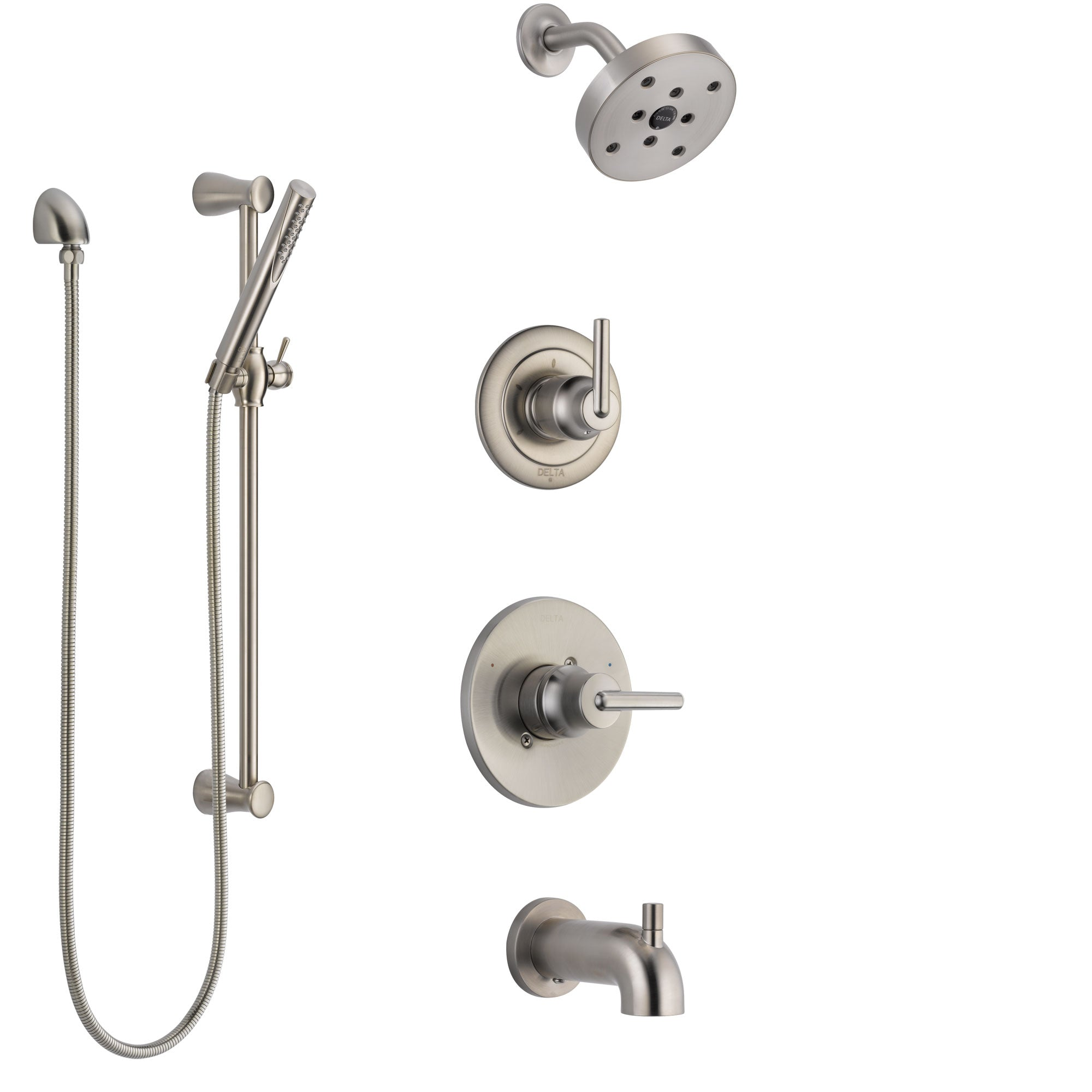 Delta Trinsic Stainless Steel Finish Tub and Shower System with Control Handle, Diverter, Showerhead, and Hand Shower with Slidebar SS14459SS5