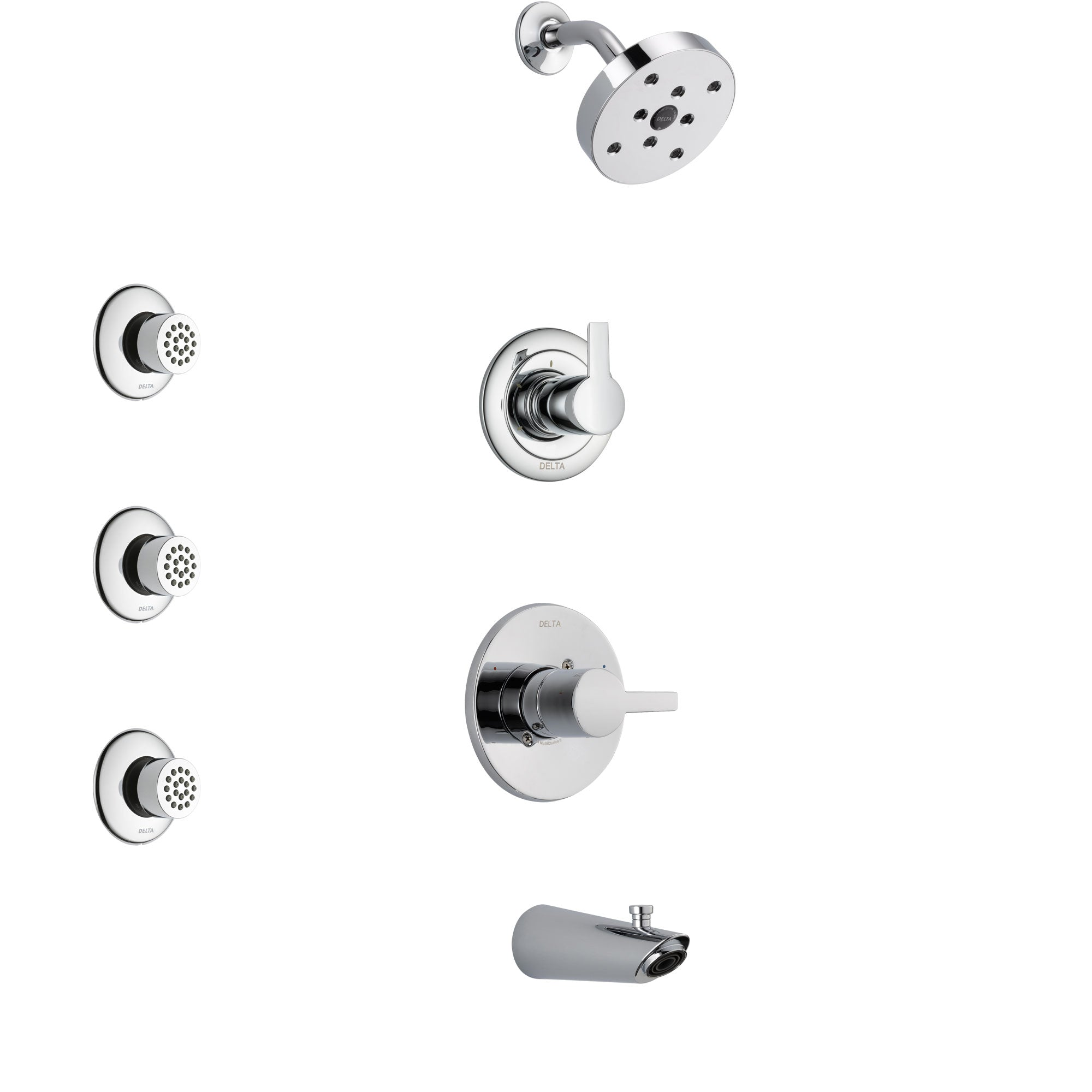 Delta Compel Chrome Finish Tub and Shower System with Control Handle, 3-Setting Diverter, Showerhead, and 3 Body Sprays SS144611
