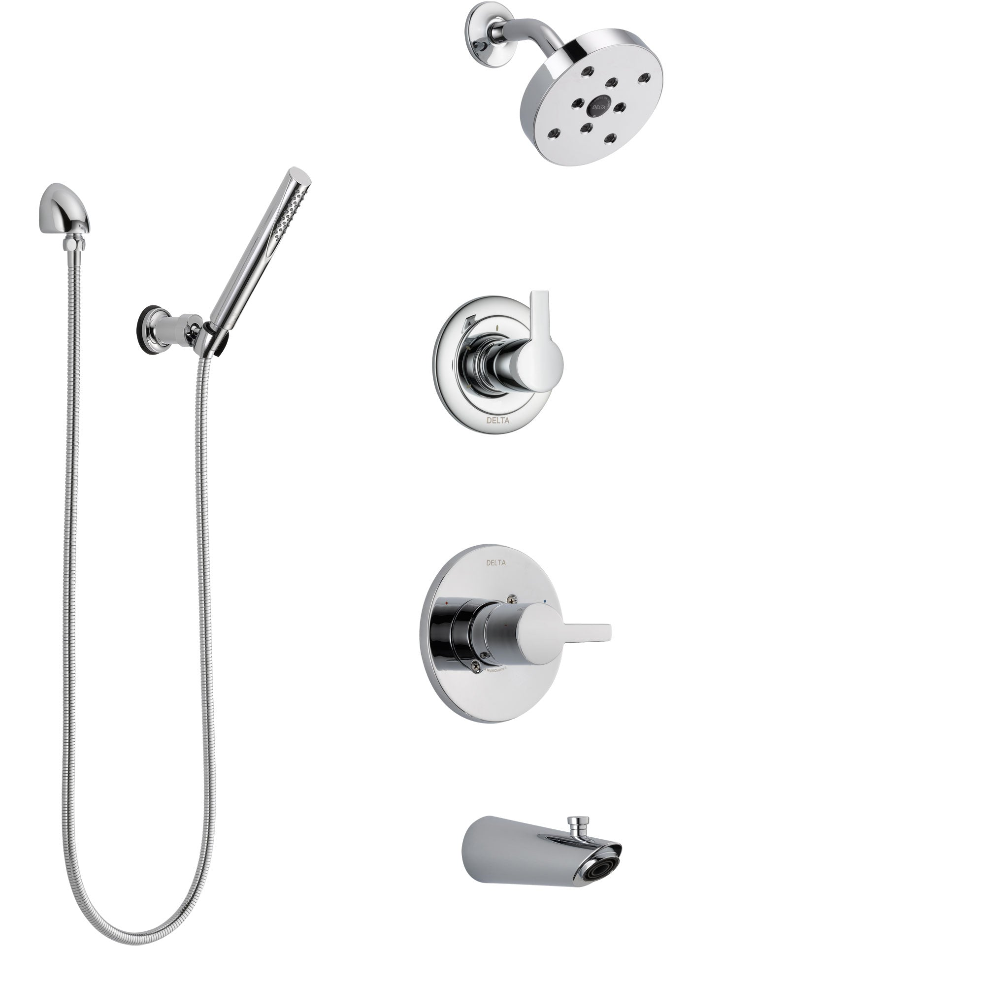 Delta Compel Chrome Finish Tub and Shower System with Control Handle, 3-Setting Diverter, Showerhead, and Hand Shower with Wall Bracket SS144616