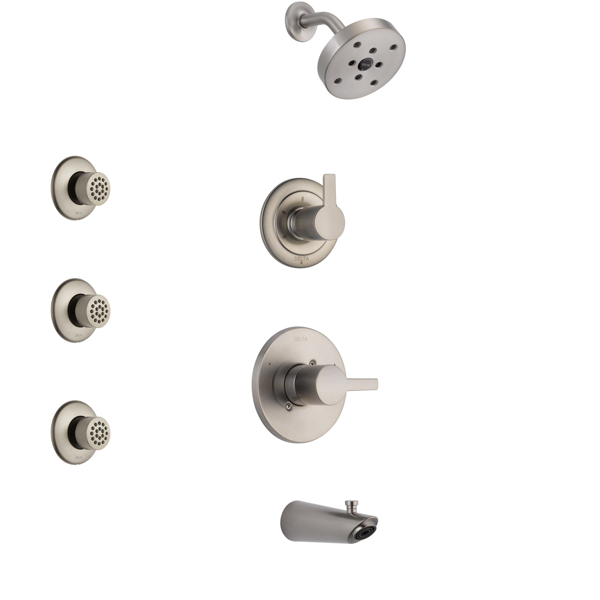 Delta Compel Stainless Steel Finish Tub and Shower System with Control Handle, 3-Setting Diverter, Showerhead, and 3 Body Sprays SS14461SS2