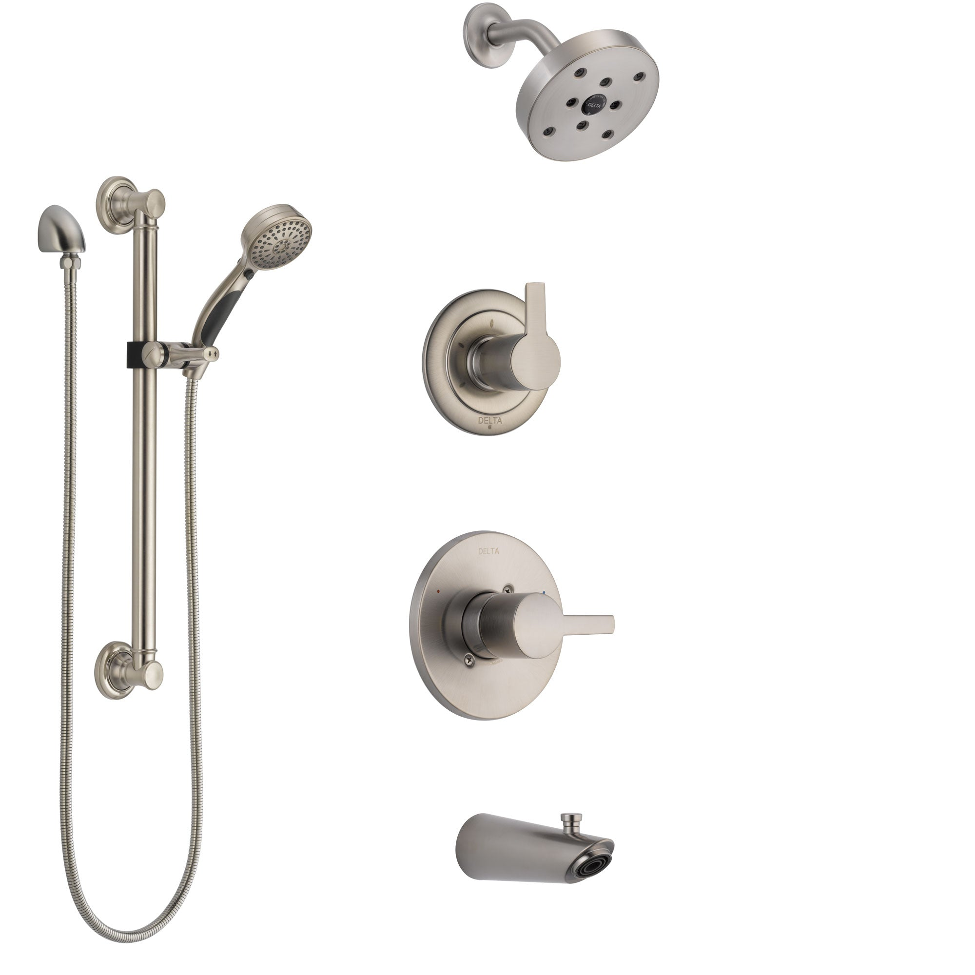 Delta Compel Stainless Steel Finish Tub and Shower System with Control Handle, Diverter, Showerhead, and Hand Shower with Grab Bar SS14461SS3