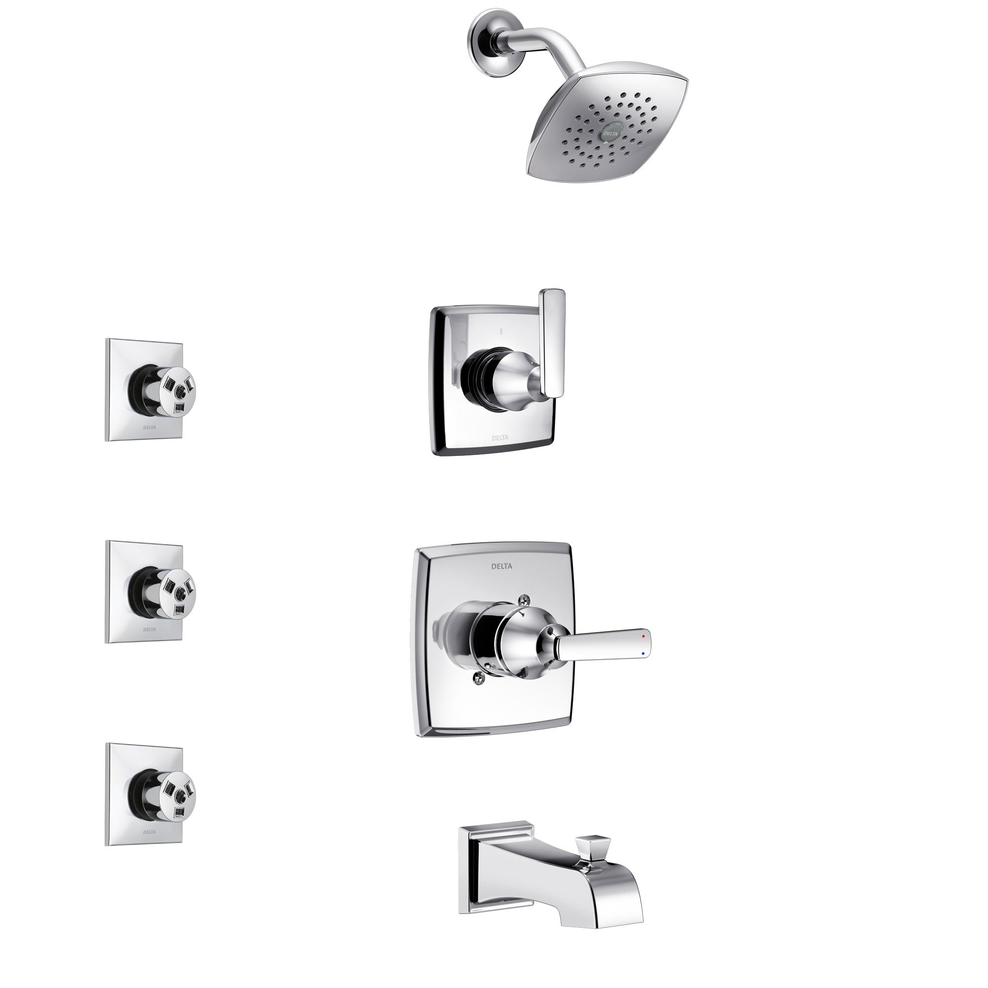 Delta Ashlyn Chrome Finish Tub and Shower System with Control Handle, 3-Setting Diverter, Showerhead, and 3 Body Sprays SS144642