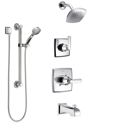 Delta Ashlyn Chrome Finish Tub and Shower System with Control Handle, 3-Setting Diverter, Showerhead, and Hand Shower with Grab Bar SS144643