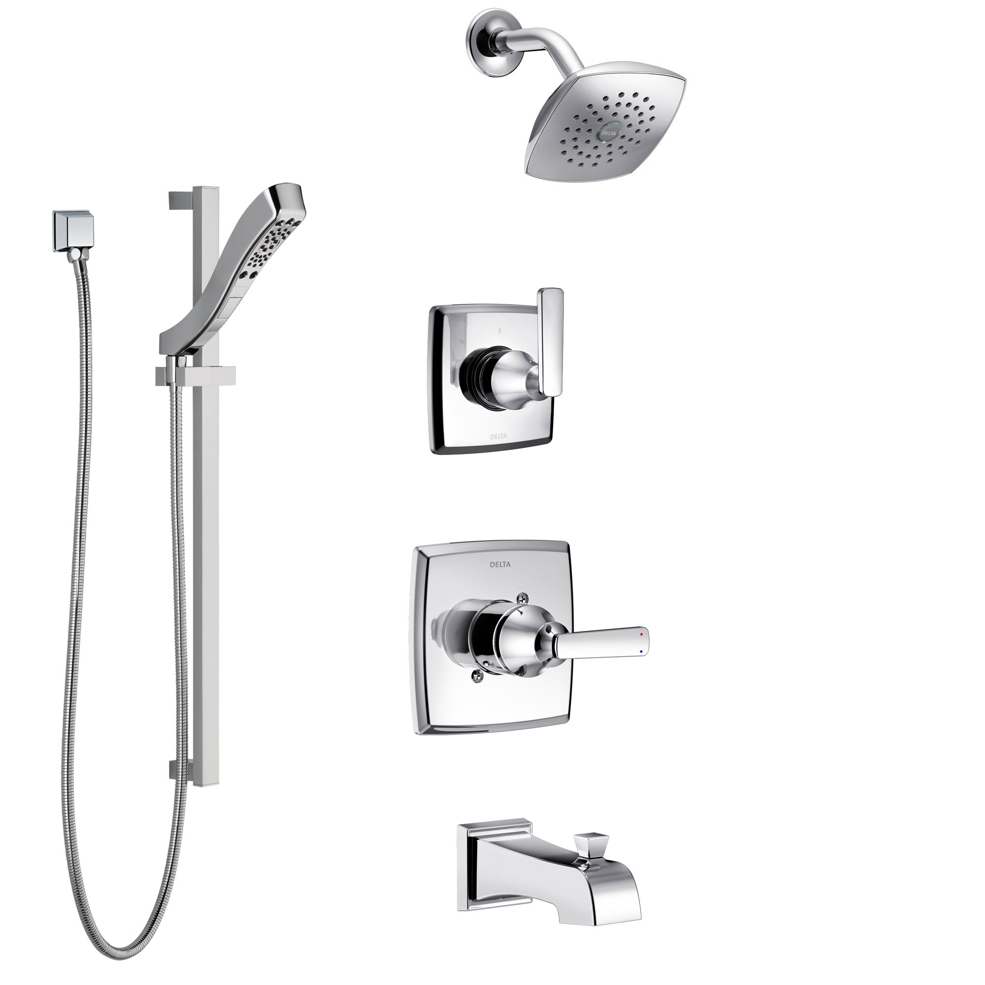 Delta Ashlyn Chrome Finish Tub and Shower System with Control Handle, 3-Setting Diverter, Showerhead, and Hand Shower with Slidebar SS144644