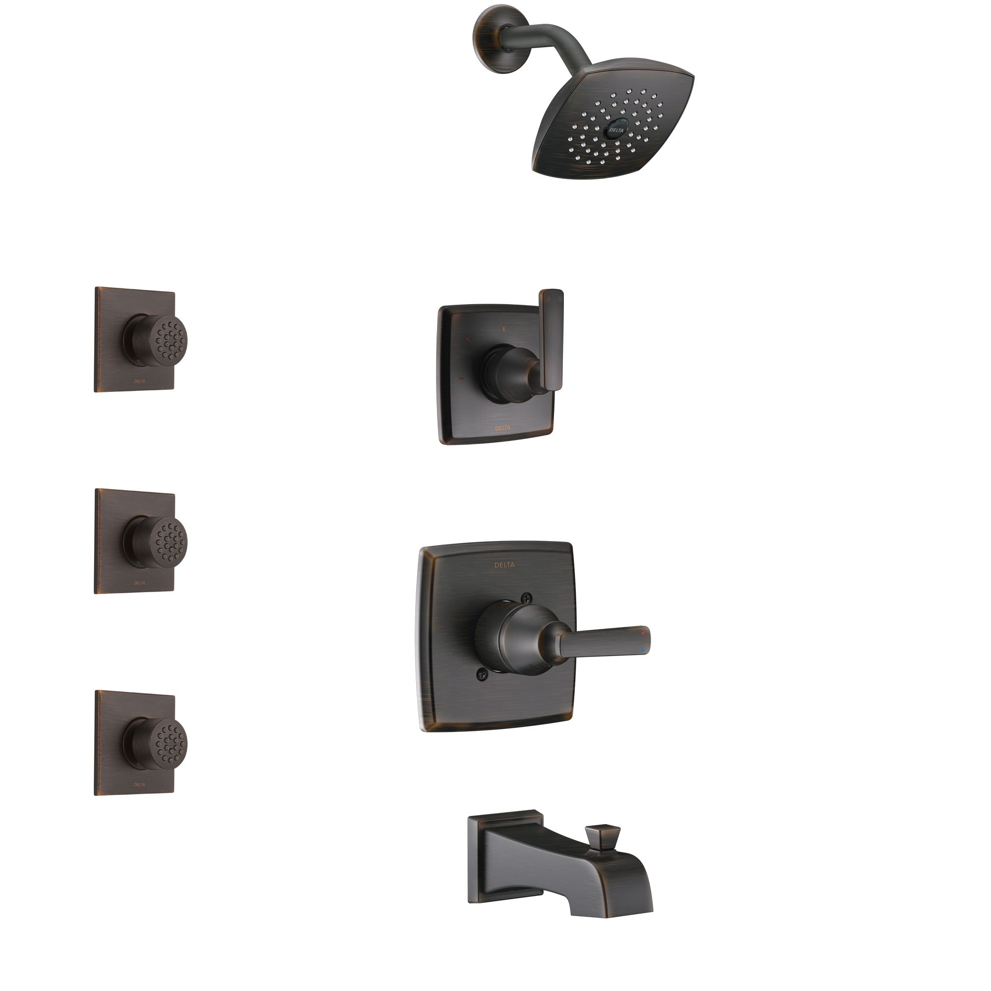 Delta Ashlyn Venetian Bronze Finish Tub and Shower System with Control Handle, 3-Setting Diverter, Showerhead, and 3 Body Sprays SS14464RB2