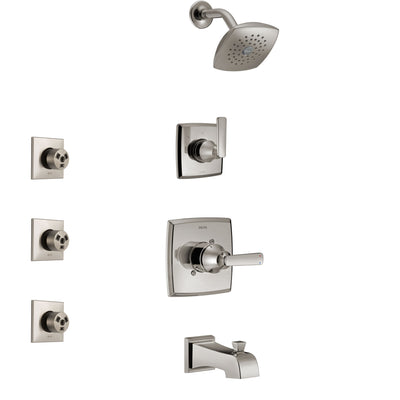 Delta Ashlyn Stainless Steel Finish Tub and Shower System with Control Handle, 3-Setting Diverter, Showerhead, and 3 Body Sprays SS14464SS1