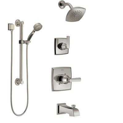 Delta Ashlyn Stainless Steel Finish Tub and Shower System with Control Handle, Diverter, Showerhead, and Hand Shower with Grab Bar SS14464SS3