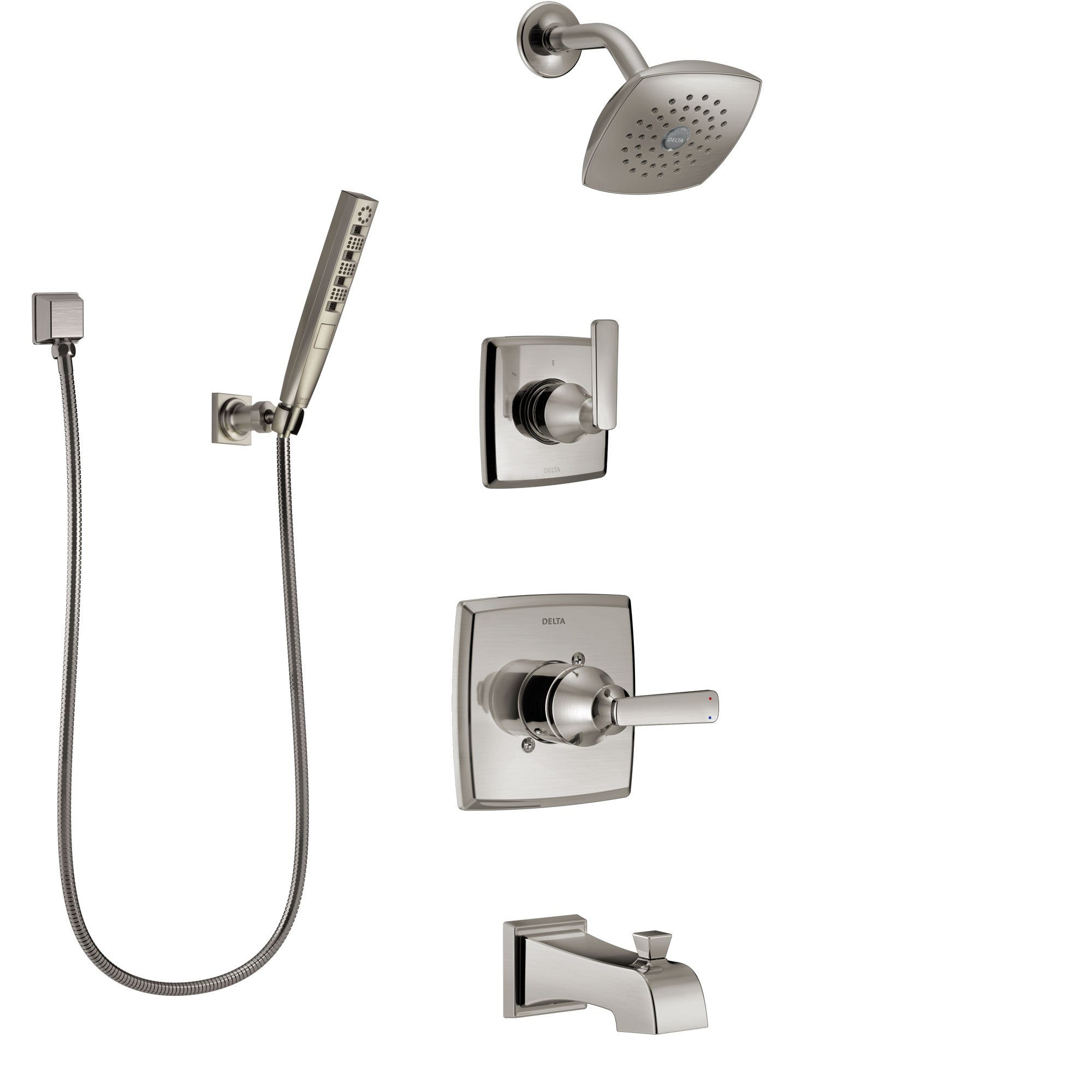 Delta Ashlyn Stainless Steel Finish Tub and Shower System with Control Handle, Diverter, Showerhead, and Hand Shower with Wall Bracket SS14464SS4