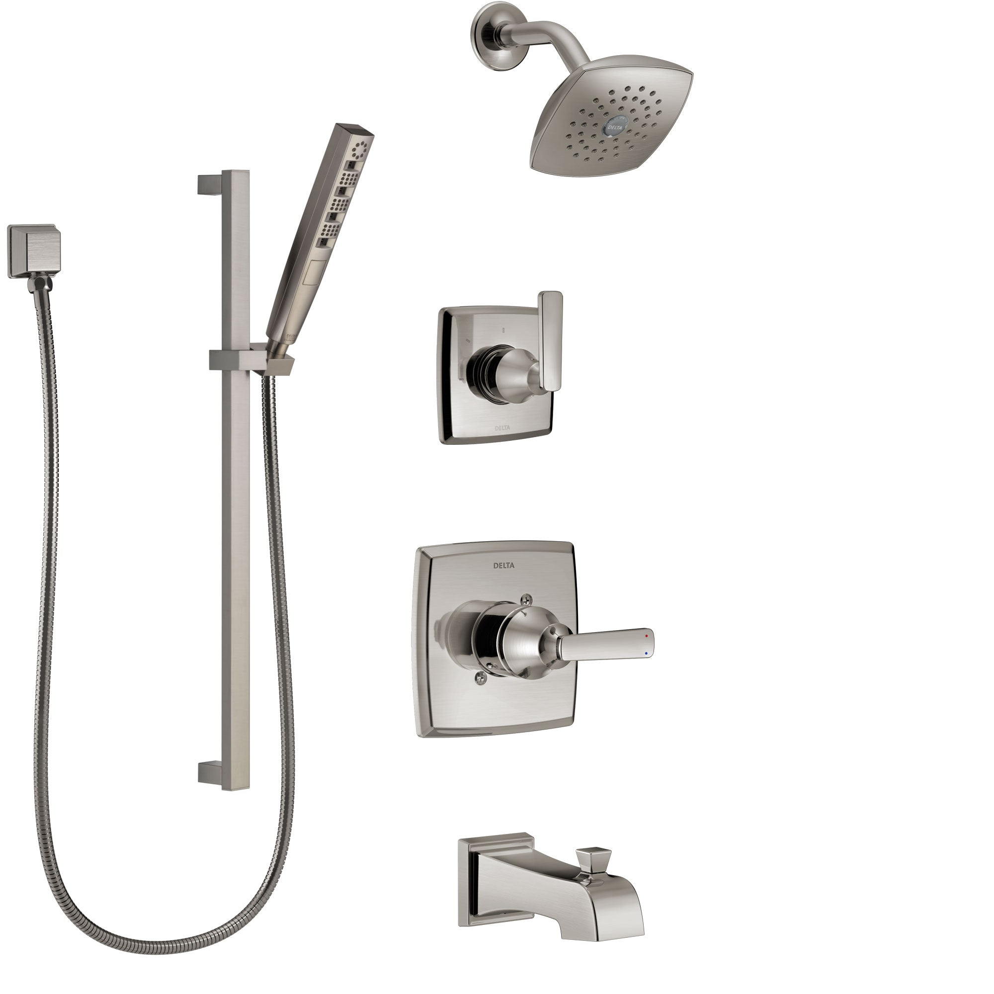 Delta Ashlyn Stainless Steel Finish Tub and Shower System with Control Handle, Diverter, Showerhead, and Hand Shower with Slidebar SS14464SS5