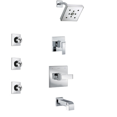 Delta Ara Chrome Finish Tub and Shower System with Control Handle, 3-Setting Diverter, Showerhead, and 3 Body Sprays SS144672