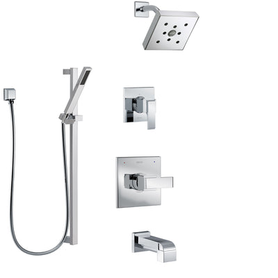 Delta Ara Chrome Finish Tub and Shower System with Control Handle, 3-Setting Diverter, Showerhead, and Hand Shower with Slidebar SS144674