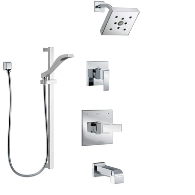 Delta Ara Chrome Finish Tub and Shower System with Control Handle, 3-Setting Diverter, Showerhead, and Hand Shower with Slidebar SS144675
