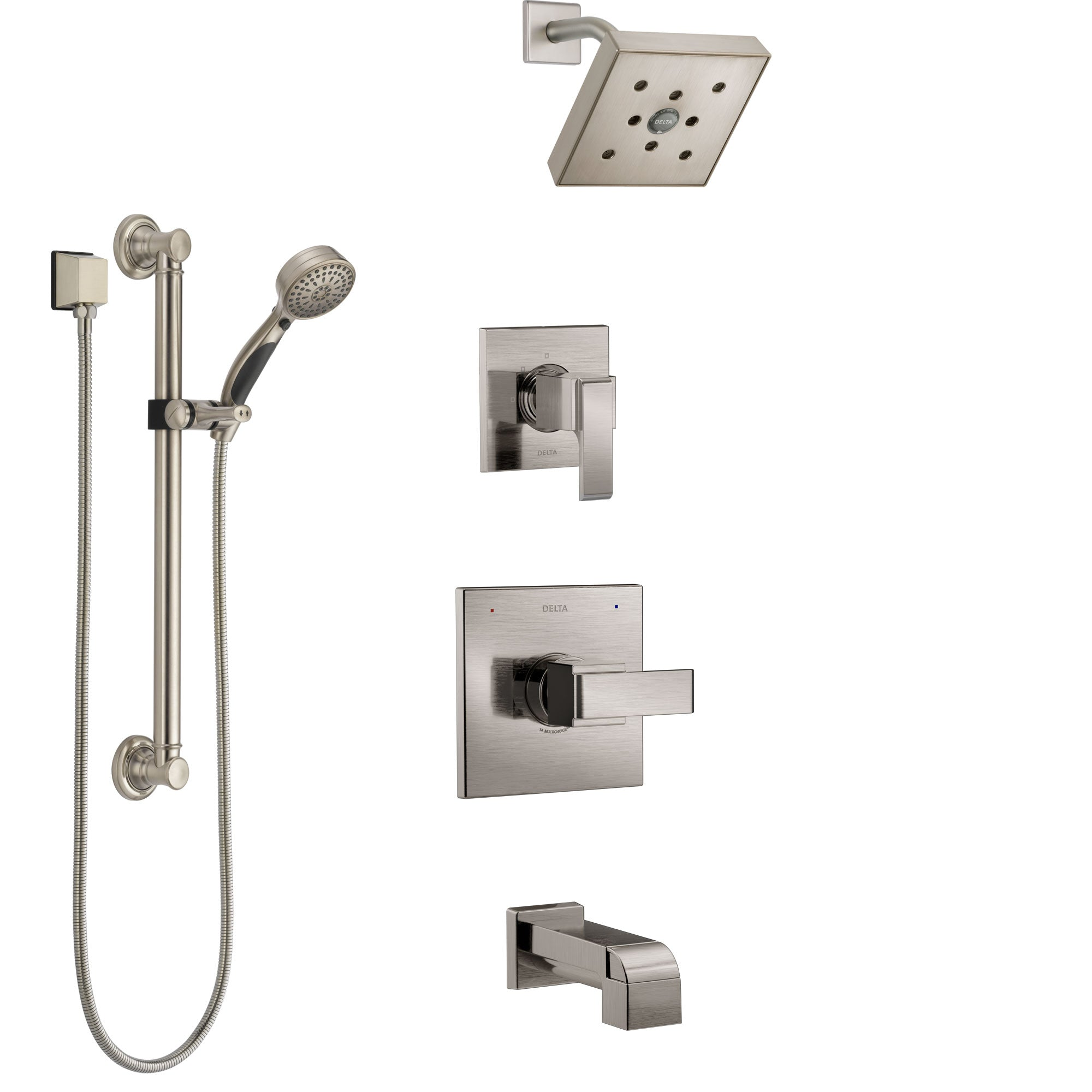 Delta Ara Stainless Steel Finish Tub and Shower System with Control Handle, 3-Setting Diverter, Showerhead, and Hand Shower with Grab Bar SS14467SS3