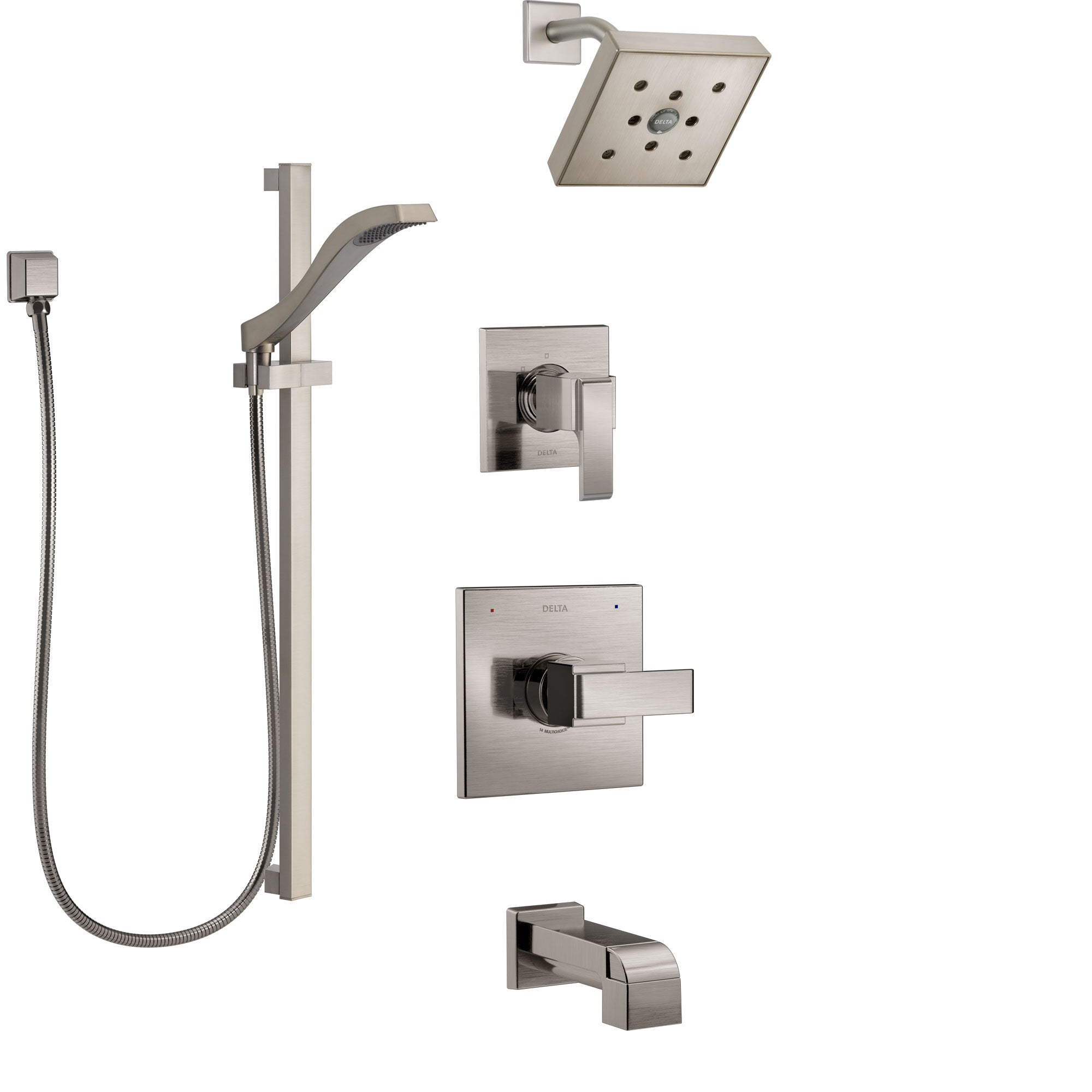 Delta Ara Stainless Steel Finish Tub and Shower System with Control Handle, 3-Setting Diverter, Showerhead, and Hand Shower with Slidebar SS14467SS4