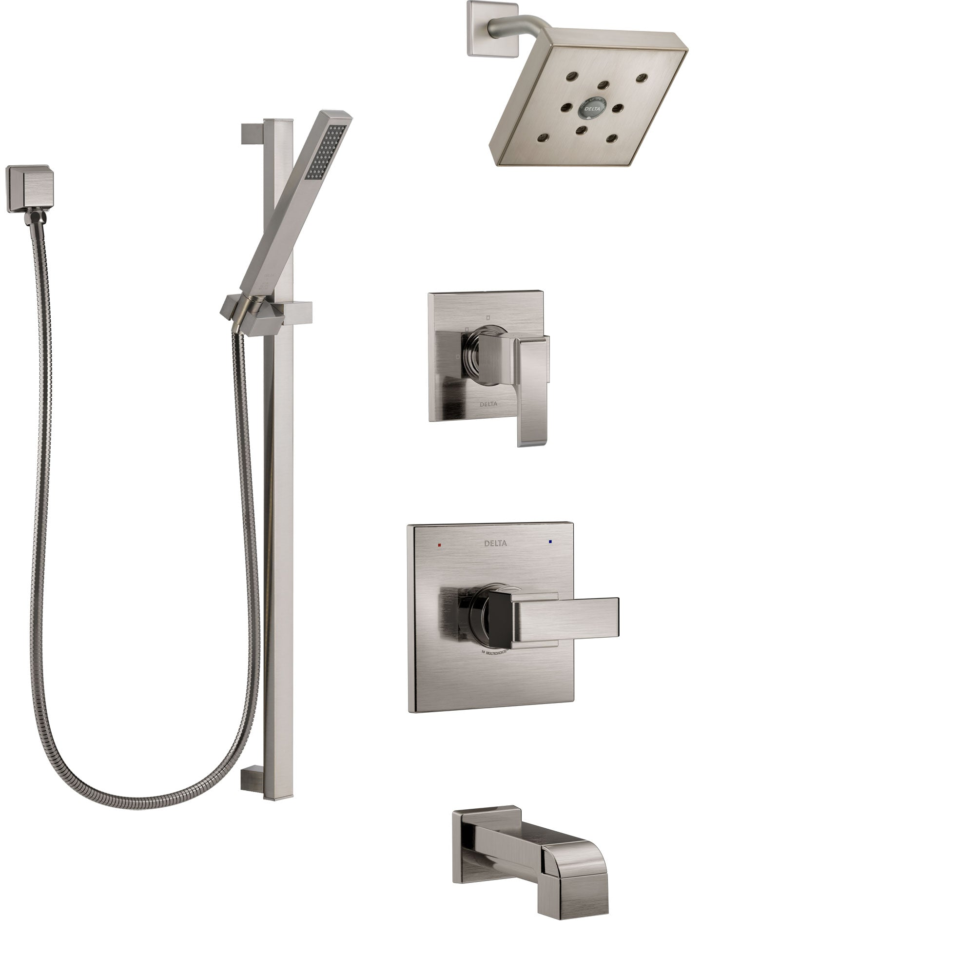 Delta Ara Stainless Steel Finish Tub and Shower System with Control Handle, 3-Setting Diverter, Showerhead, and Hand Shower with Slidebar SS14467SS5