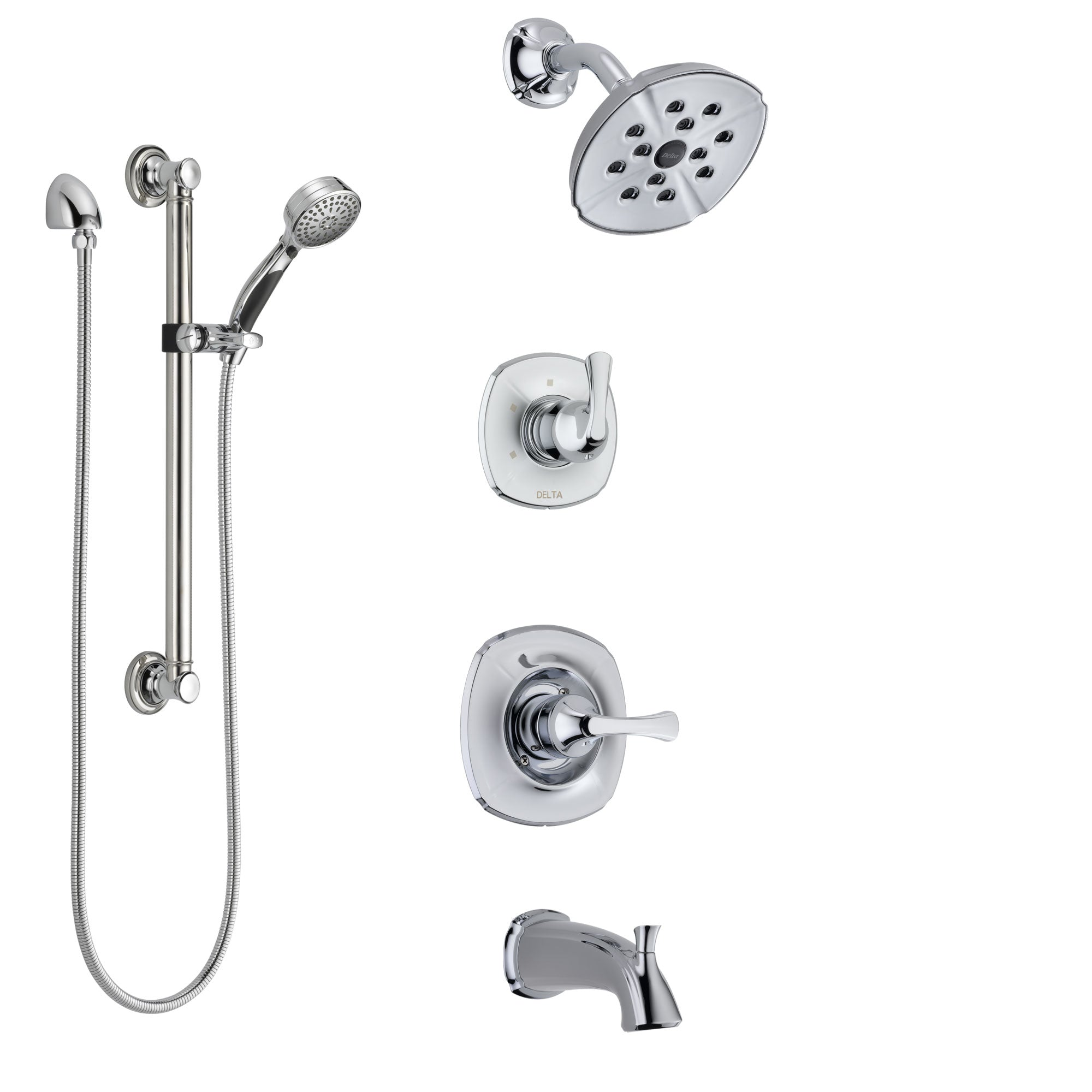 Delta Addison Chrome Finish Tub and Shower System with Control Handle, 3-Setting Diverter, Showerhead, and Hand Shower with Grab Bar SS144923