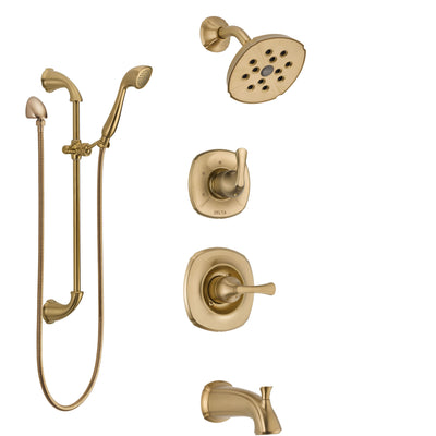Delta Addison Champagne Bronze Tub and Shower System with Control Handle, 3-Setting Diverter, Showerhead, and Hand Shower with Slidebar SS14492CZ3