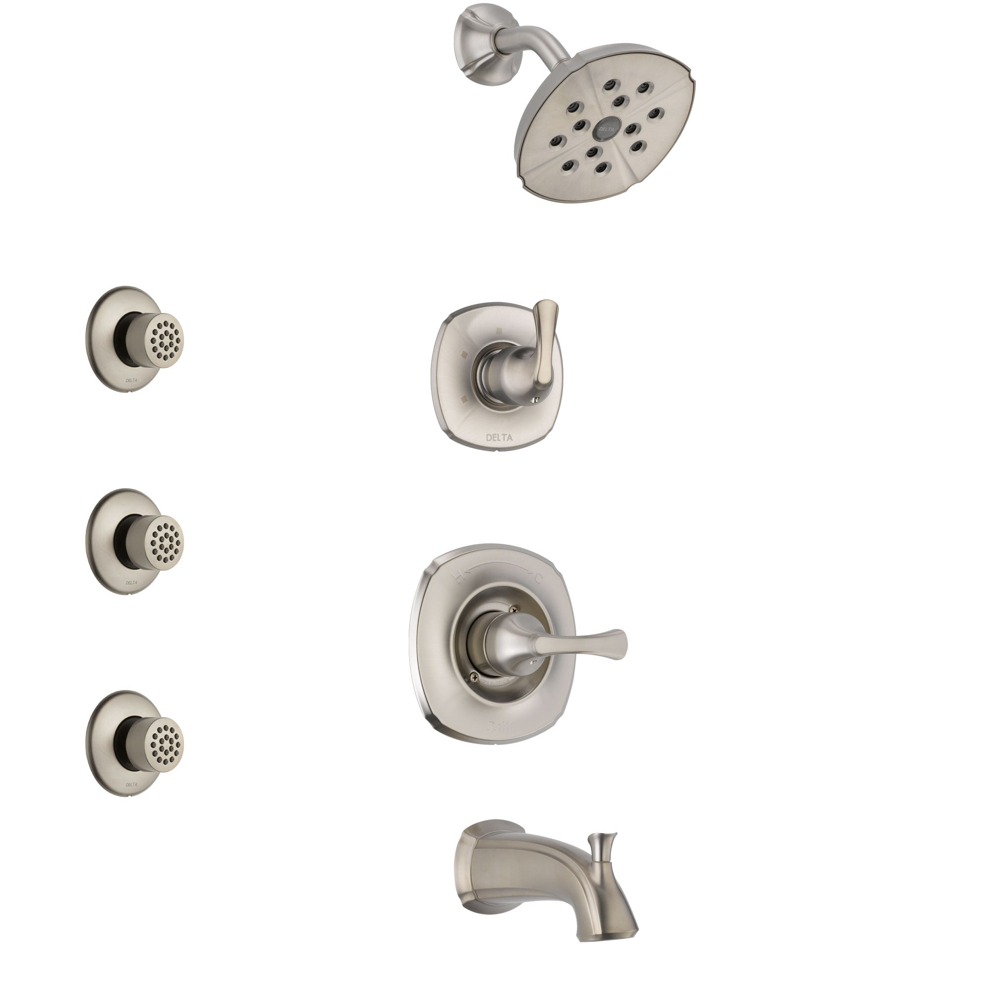 Delta Addison Stainless Steel Finish Tub and Shower System with Control Handle, 3-Setting Diverter, Showerhead, and 3 Body Sprays SS14492SS2