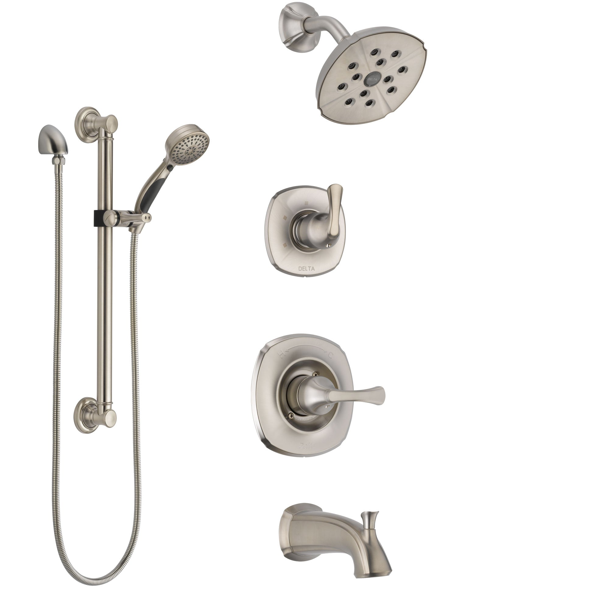 Delta Addison Stainless Steel Finish Tub and Shower System with Control Handle, Diverter, Showerhead, and Hand Shower with Grab Bar SS14492SS3