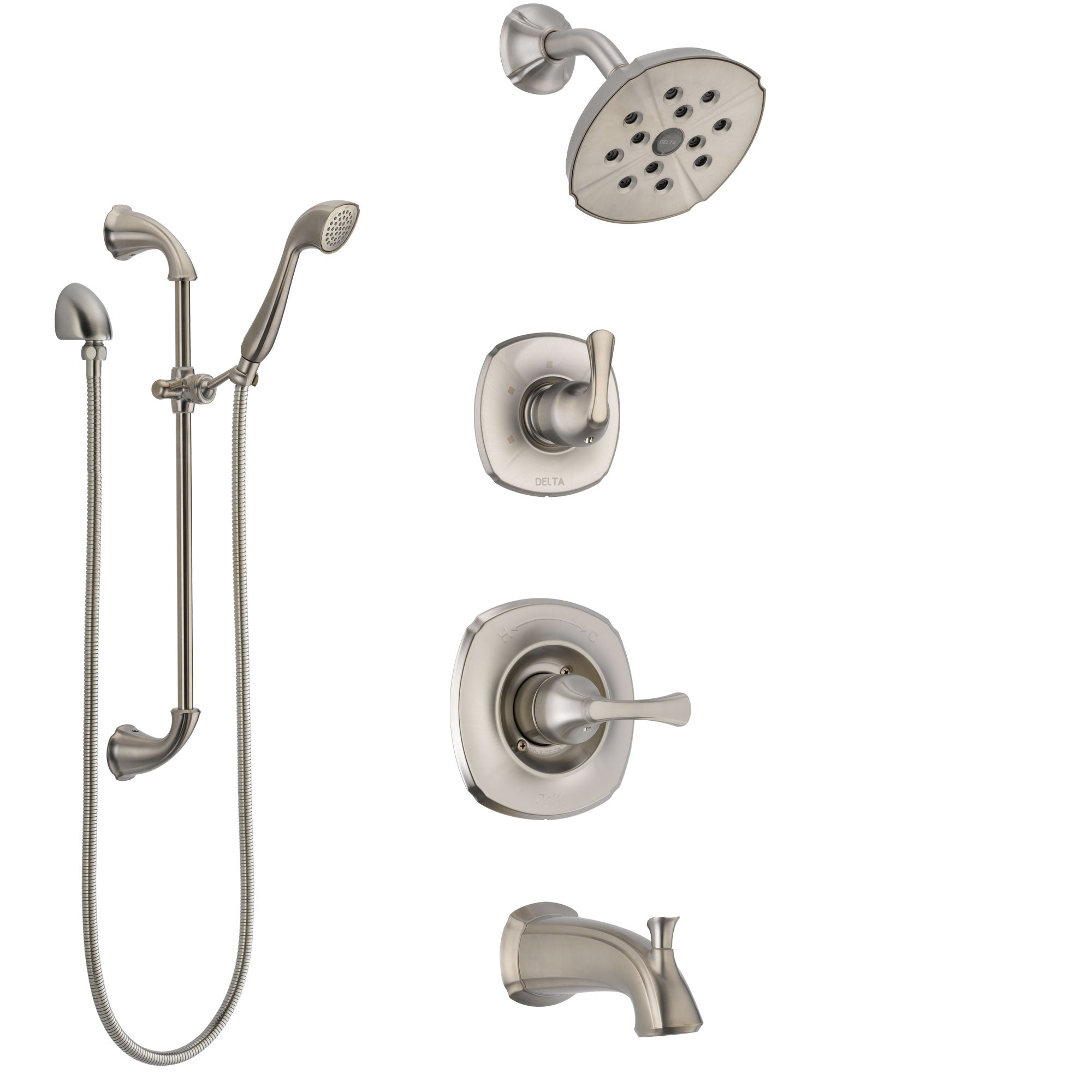 Delta Addison Stainless Steel Finish Tub and Shower System with Control Handle, Diverter, Showerhead, and Hand Shower with Slidebar SS14492SS5