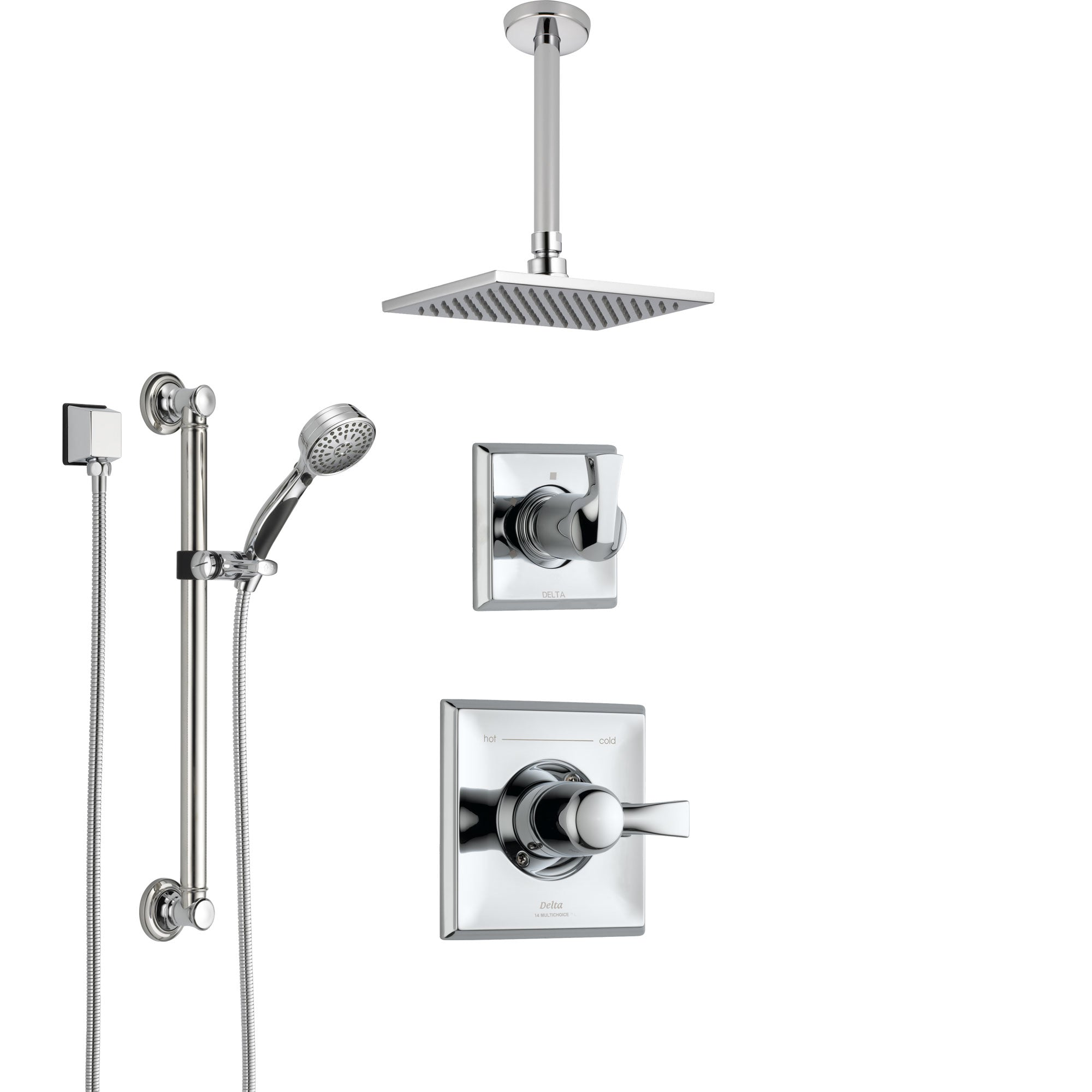 Delta Dryden Chrome Finish Shower System with Control Handle, 3-Setting Diverter, Ceiling Mount Showerhead, and Hand Shower with Grab Bar SS14511