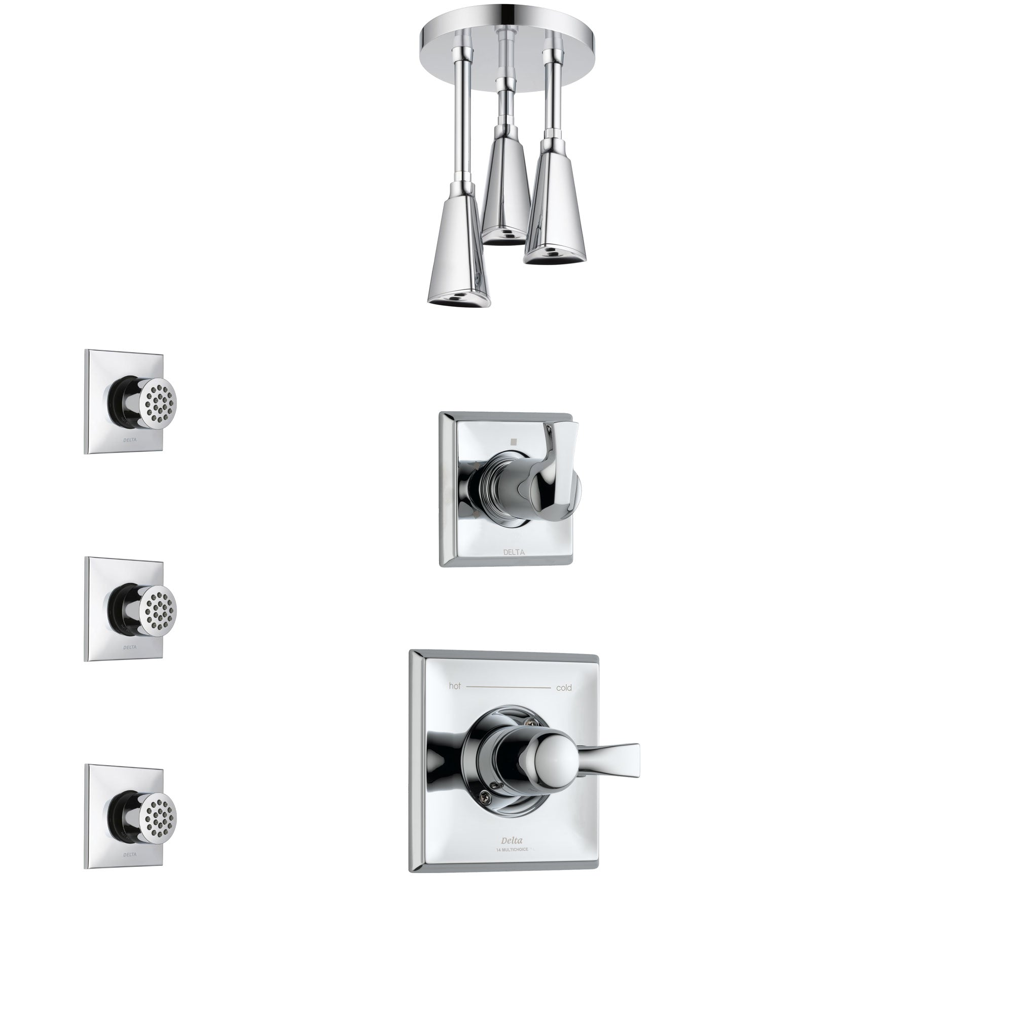 Delta Dryden Chrome Finish Shower System with Control Handle, 3-Setting Diverter, Ceiling Mount Showerhead, and 3 Body Sprays SS14513