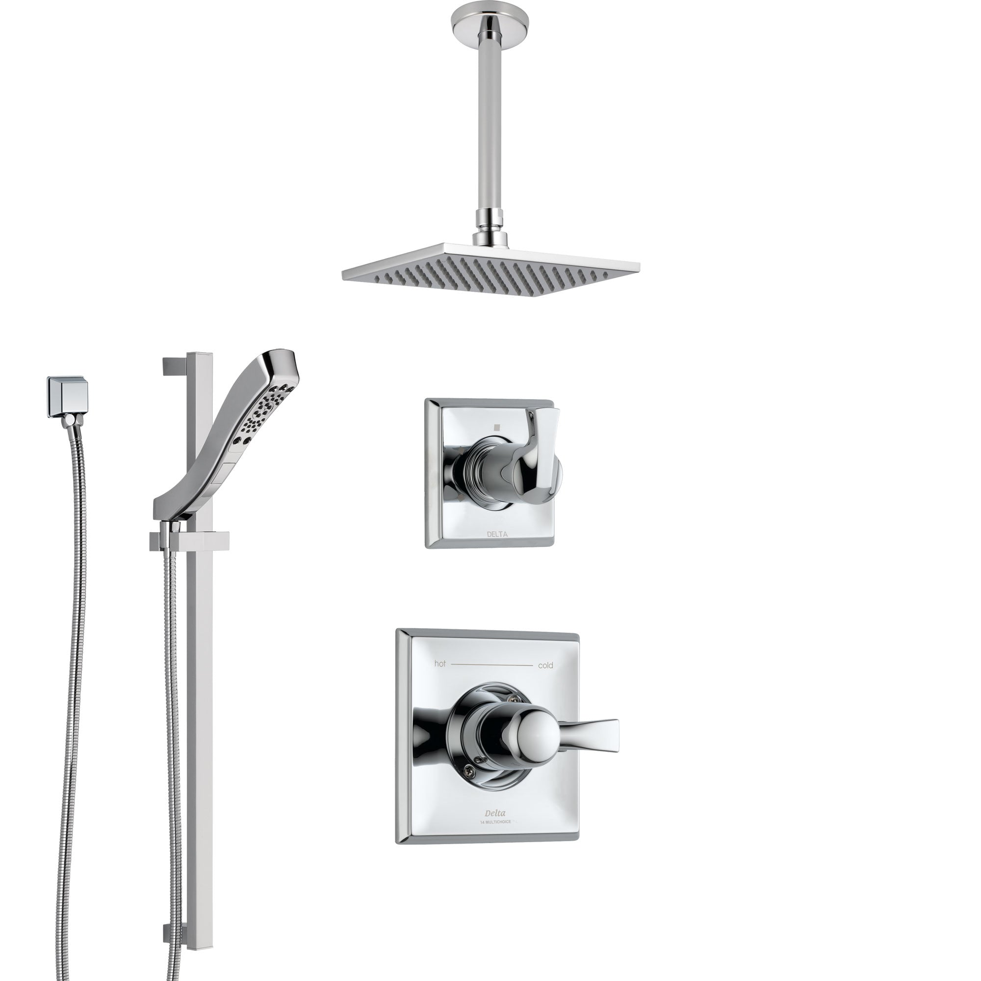 Delta Dryden Chrome Finish Shower System with Control Handle, 3-Setting Diverter, Ceiling Mount Showerhead, and Hand Shower with Slidebar SS14515