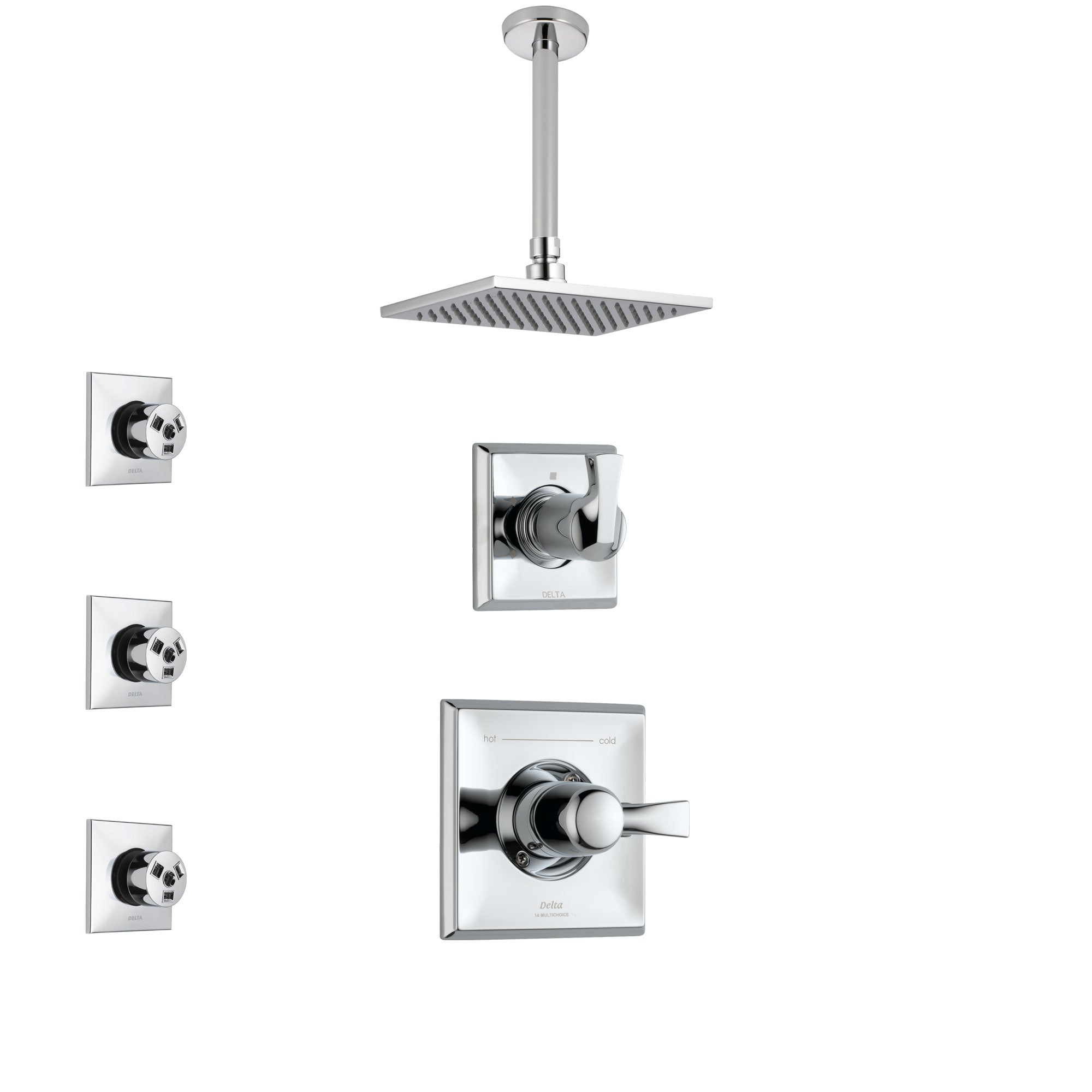 Delta Dryden Chrome Finish Shower System with Control Handle, 3-Setting Diverter, Ceiling Mount Showerhead, and 3 Body Sprays SS14517