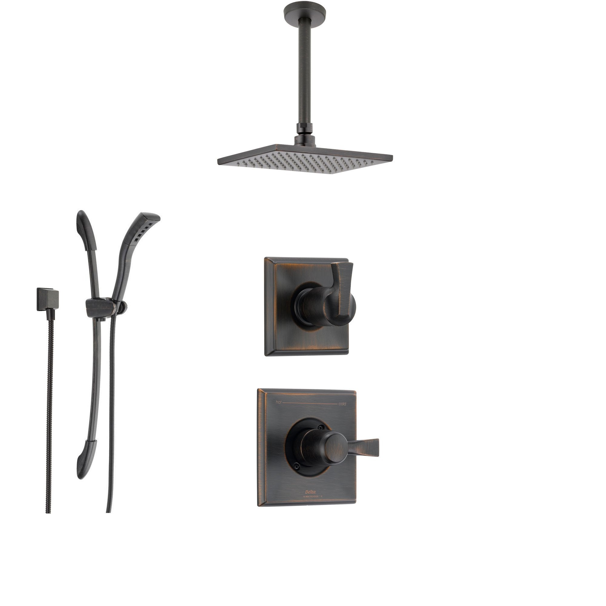 Delta Dryden Venetian Bronze Shower System With Normal Shower Handle,  3 Setting Diverter,