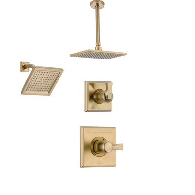Delta Dryden Champagne Bronze Shower System with Normal Shower Handle, 3-setting Diverter, Large Square Ceiling Mount Showerhead, and Wall Mount Showerhead SS145184CZ